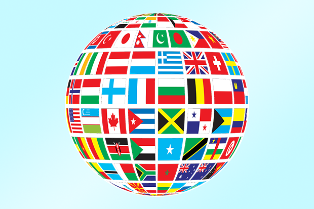 A globe with flags